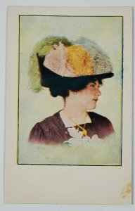 MILLINERY Trade Advertising Fluffy Toppped Hat Postcard M17