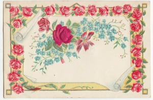 Greetings; Austrian Floral Vignette PPC Unused, Embossed, Fabric Rose, c 1910
