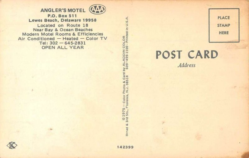 Lewes Beach Delaware Angler's Motel Vintage Postcard AA36961