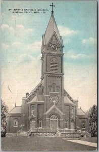 Mineral Point, Wisconsin Postcard St. Mary's Catholic Church / 1944 Linen