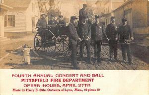 Pittsfield MA Firemen Department Equipment RPPC Real Photo Postcard