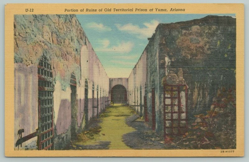 Yuma Arizona~Long Hallway~Portion Of Ruins Of Old Jail~Prison Bars~1942 Linen