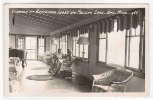 Northland Lodge Veranda Interior Pelican Lake Orr Minnesota RPPC postcard