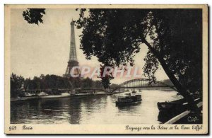 Old Postcard Paris And Its Wonders Landscape towards the Seine and the Eiffel...