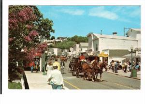 MACKINAC ISLAND, Michigan; Main Street, Horse Drawn Carriage, 40-60s