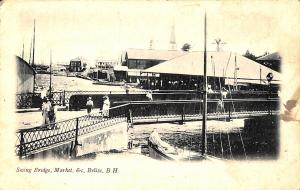 Belize Swing Bridge, Market vintage postcard