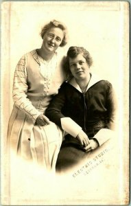 1910s DECORAH, Iowa RPPC Photo Postcard Mother Daughter Portrait Electric Studio