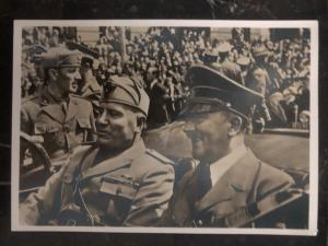 1940 Munich Germany Real picture Postcard RPPC cover Hitler & Mussolin meeting