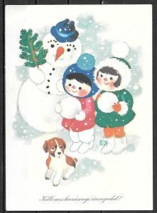 1980 Hungary Holiday Greetings, snowmen, mailed to USA