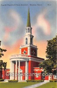 Churches Vintage Postcard Houston, TX, USA Vintage Postcard Fourth Church of ...