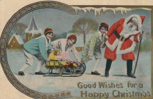 CHRISTMAS; Santa Claus & kids playing with a small sled , 1911