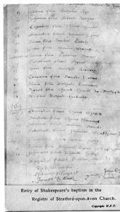 UK - England, Entry of Shakespeare's Baptism in the Register, Stratford-Upon-...