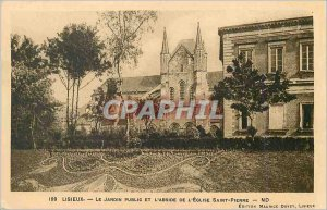 Old Postcard Lisieux The Public Garden and the apse of St. Peter's Church