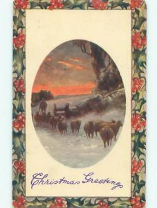 Divided-Back CHRISTMAS SCENE Great Postcard W9701