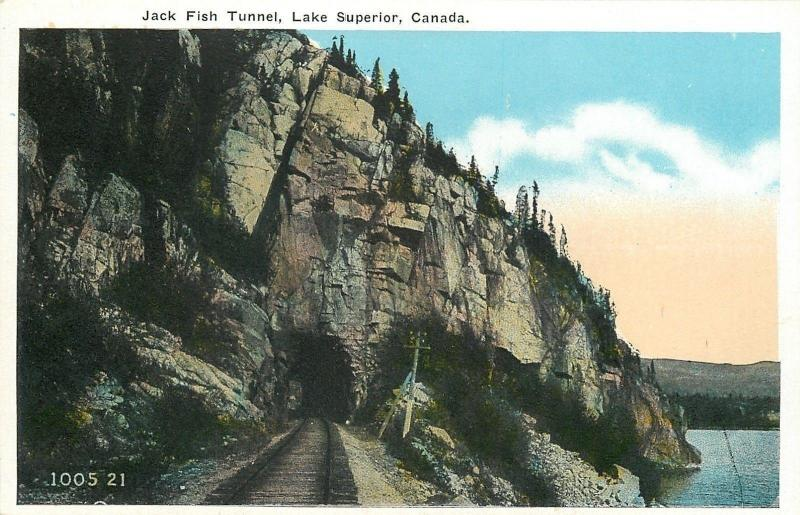 Lake Superior Ontario~Jack Fish Railroad Tunnel~1920s Postcard