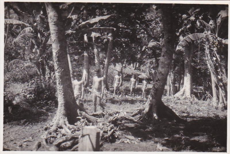 RP: Tahitian Native Boys walking amoung trees, Tahiti, 10-20s