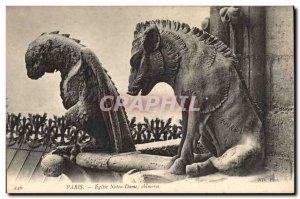 Old Postcard Gargoyle Paris Notre Dame Chimeres