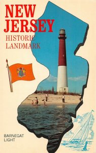 LPN09 New Jersey Map Postcard Barnegat Light House Flag