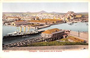 Spain Old Vintage Antique Post Card Vista general con el Arsenal Cartagena Un...