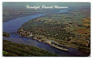 Aerial View of Prescott, WI Postcard *5E1
