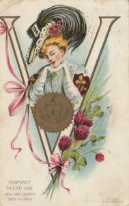 VERMONT, PU-1909; State Girl, Seal and Flower, Red Clover