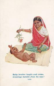 Indian Child With Baby India Vintage Children Overseas Missionary Postcard