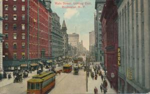 Busy Trolley Traffic on Main Street Looking East Rochester New York pm 1910 - DB