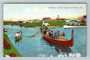 Venice CA, Gondolas on the Lagoon, Vintage California c1910 Postcard