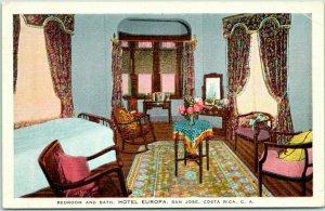 San Jose, COSTA RICA Postcard HOTEL EUROPA Room Interior View Linen 1953 Cancel
