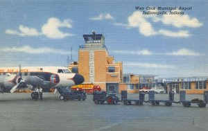 Linen Postcard 1956 Weir Cook Airport Indianapolis Indiana Eastern Air Lines BB8
