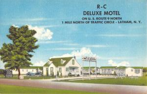 Cohoes New York RC Deluxe Motel Street View Antique Postcard K85999