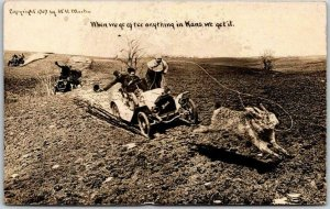 Vintage 1910s Kansas EXAGGERATION Comic Postcard Roping Giant Jackrabbit Unused