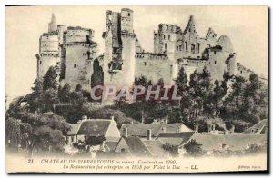 Old Postcard Chateau de Pierrefonds in ruins