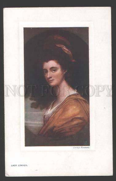113613 Portrait BELLE Lady CRAVEN by ROMNEY vintage TUCK PC