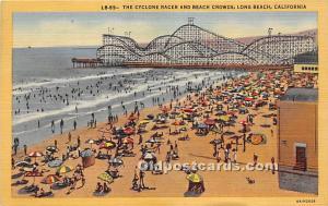 Long Beach, California, CA, USA Postcard The Cyclone Racer and Beach Crowds 1953