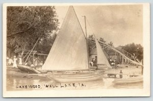 Wall Lake Iowa~Lakewood Park~Chutes~Sailboats Close~Victorian Ladies~c1910 RPPC