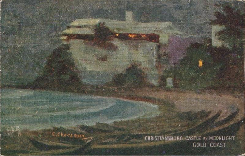 Christiansborg Castle moonlight Gold Coast West Africa TUCK Cheesman