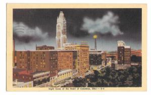 Columbus Ohio Night Scene Heart of the City Vintage Linen Postcard