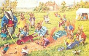Anthropomorphic Dressed Animals Rabbits Wheelbarrow Race Helps Postcard 21-881