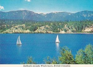 Canada British Columbia Sailboats On Lake Windermere