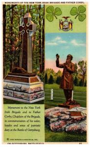 Pennsylvania Gettysburg   Monuments of the New York Irish Brigade and Father ...