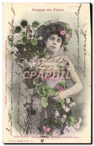 Old Postcard Fantasy Flowers Woman language Geranium