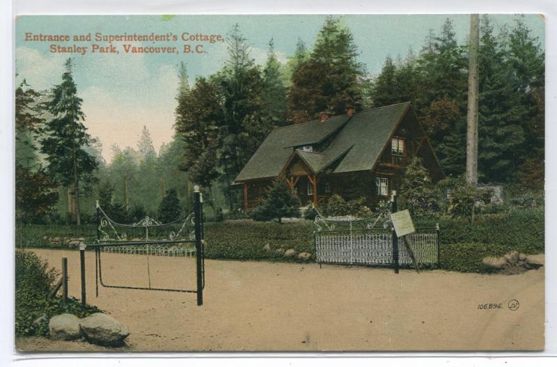 Entrance Superintendent Cottage Stanley Park Vancouver British Columbia postcard