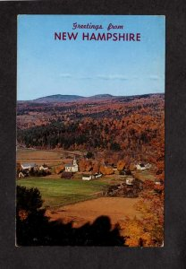NH Greetings From New Hampshire Foliage Church Fall Scene Postcard