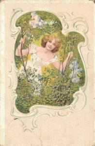 Art Nouveau Women Flowers and more Postcard Lot of 8 01.07