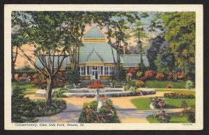 Glen Oak Park Conservatory Peoria Illinois Unused c1932