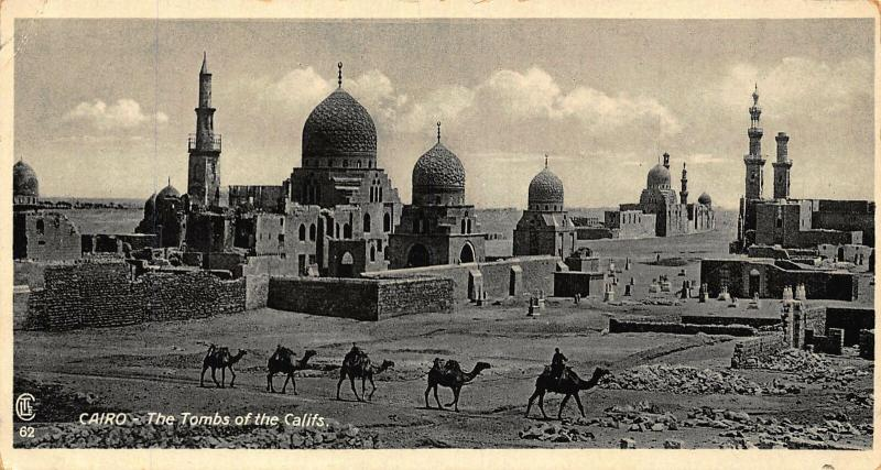 Egypt Cairo The Tombs of the Califs Camels Postcard