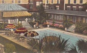 LPG27 Savannah Hotel De Soto Georgia Postcard  Hand Colored Albertype Swim Pool