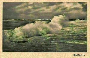 Aus deutschen Landen Sea Waves Landscape Postcard