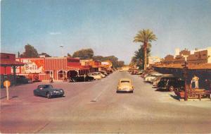 Scottsdale Arizona birds eye view street scene business area vintage pc Y15704